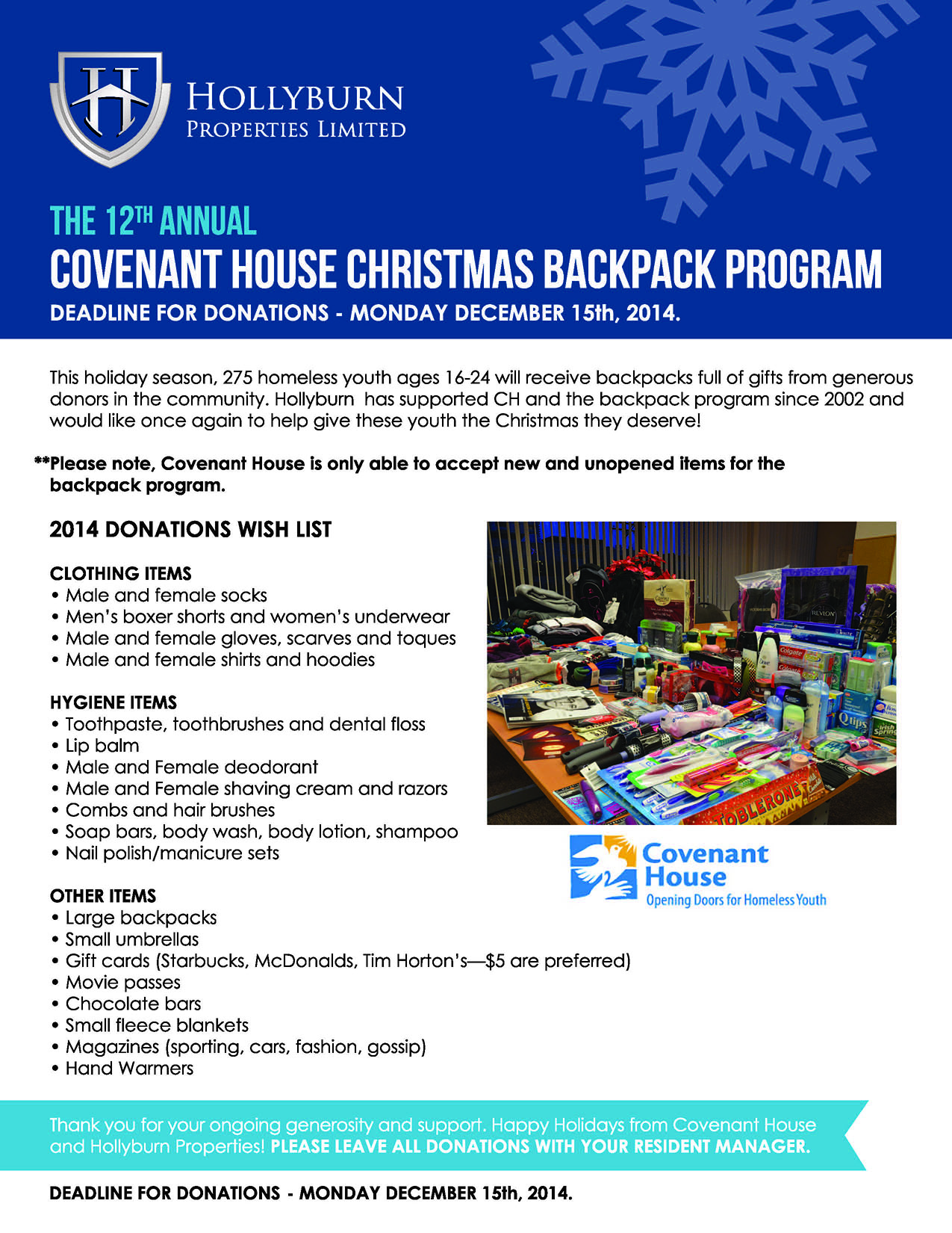 Covenant House Christmas Backpack Program - 2014 | Hollyburn