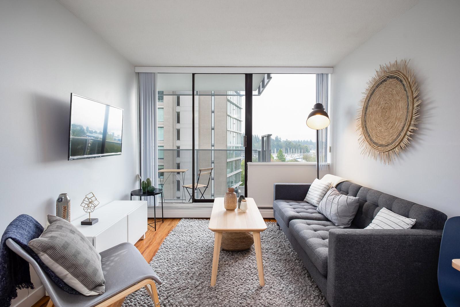 Hollyburn Harbourview 1Bedroom Furnished Rental living room 2 604