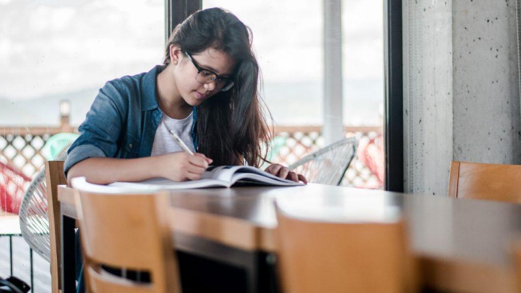Student studying at university